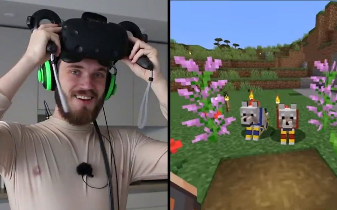 PewDiePie mindblown after experiencing Minecraft in VR
